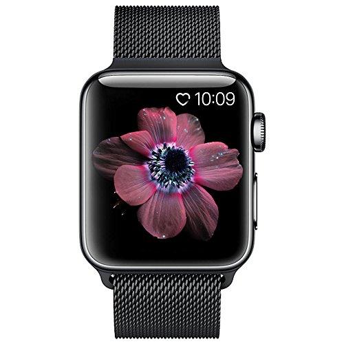 BRG For apple watch バンド,ミラネーゼループ アップルウォッチバンド アップルウォッチ1 apple watch series 2 apple watch series 3 ステンレス留め金製(42mm,ブラック)18ヶ月保証付き
