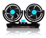 角度調節 12V 24V 車内 シガー 風量調節 車載扇風機 ツインファン (12V/ブルー)