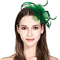 HOLDOOR Sinamay Fascinator Flower Feather Fascinators for Women Pillbox Hat for Royal Wedding Deryby Party