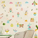 Happy Easter Wall Decal Floral Easter Bunnies Easter Eggs Chick Sheep Wall Stickers, Lovely Easter Sticker for Nursery, Fridge Window Cling Decals Easter Home Decor(49pcs)