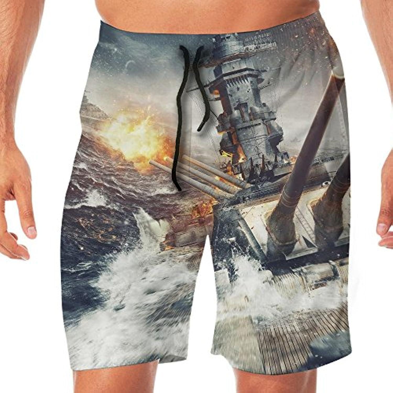 メンズ水着 ビーチショーツ ショートパンツ 燃えている船 スイムショーツ サーフトランクス 速乾 水陸両用 調節可能
