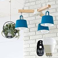 チェーンペンダントライト 3灯 BELLME(ベルミー) (リモコン LED電球セット, ブルー)