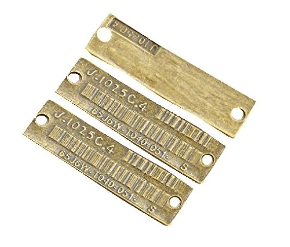 怪物信じられない意味のある長方形メタルタグ* 3個入り つなぎパーツ コネクタープレート バーコード チャームにも、タグプレートにも