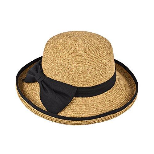 ホッミコッゼ(Homeycozy)つば広 麦わら帽子 レディース 折りたたみ可 夏の紫外線対策 UVカット サイズ調整可 大きいリボン 女優帽子 春夏物
