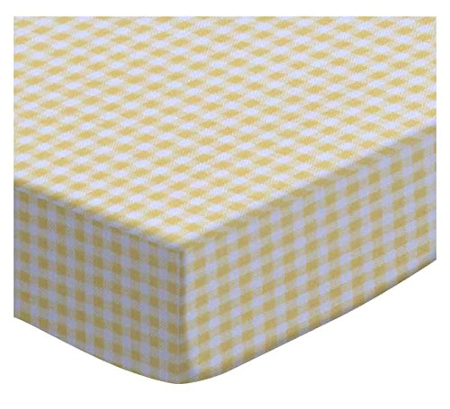 SheetWorld Fitted Square Playard Sheet 37.5 x 37.5 (Fits Joovy) - Primary Yellow Gingham Woven - Made In USA by sheetworld
