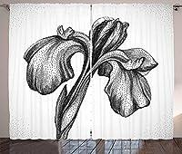 VamJump 花柄遮光カーテン垂帘 窗帘 昼夜目隠し 遮像 デコレーション 取り付け簡単、手描きのユリの花が劇的なヴィンテージ植物学ガーデンパターン、リビングルームの寝室の窓ドレープ、黒と白 2枚組 幅135cm丈160cm