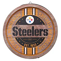 (Pittsburgh Steelers, One Size, Team Color) - FOCO NFL Team Logo Wooden Barrel Sign