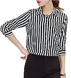 キャリア ウーマン ストライプシャツ レディース キャリア OL 七分袖 襟付き とろみシャツ きれいめ ブラウス トップス (XL)