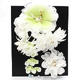 きもの京香 髪飾り 花 白×黄緑 2点セット 日本製 安い 成人式/振袖/卒業式/袴/結婚式/着物/和装