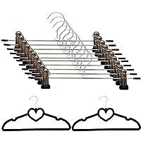 ズボンハンガー PUPTECK スカートハンガー 滑り止めクリップ ハンガー 頑丈なスチール製 10個組+シャツハンガー2個セット