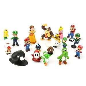 "Lujex 18pcs Set 1-3"" Super Mario Bros Figure Toy Doll Pvc Figure Collectors"