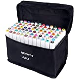 TOUCHFIVE 80 Colors Art Markers Set, Dual Tips Alcohol Based Drawing Markers for Sketch Adult Coloring Book, Art Supplies