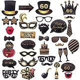 35ピース 60歳の誕生日 写真ブース小道具 メリッチー 60歳の誕生日パーティー用品 装飾 男女兼用