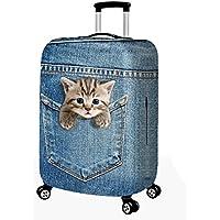 CXYP スーツケースカバー 伸縮素材 かわいい 猫 萌ちゃん ウサギ トランクカバー 伸縮 キャリーカバー 洗える 国内 海外旅行 便利 おしゃれ S M L XL