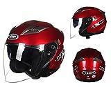 YEMA バイクヘルメット ジェット ジェットヘルメット 通気 パイロット ダブルシールド付き 「PSCマーク付き」 (レッド, XL)