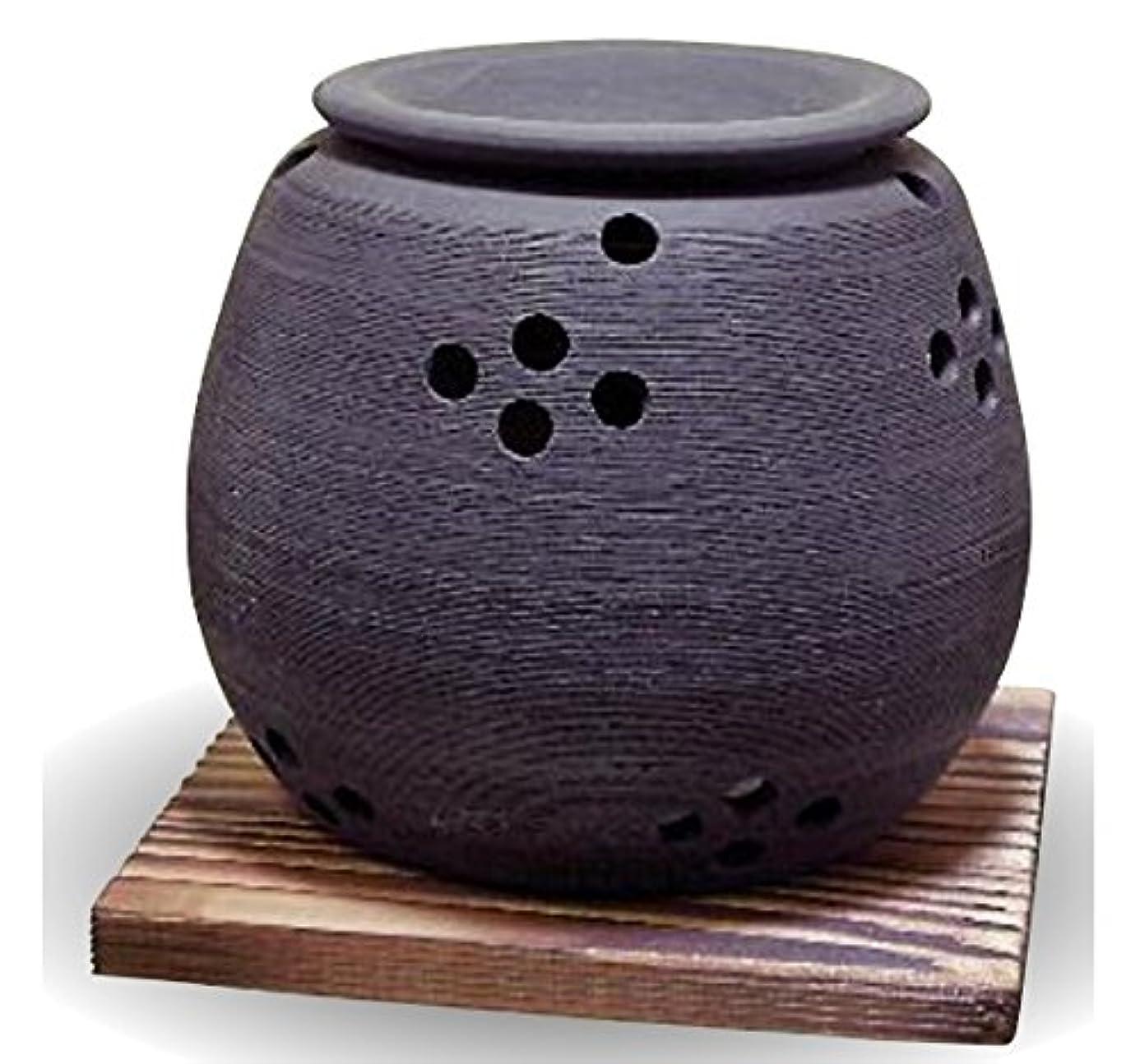 彫刻家窓中間常滑焼 茶香炉(アロマポット)径10×高さ9cm