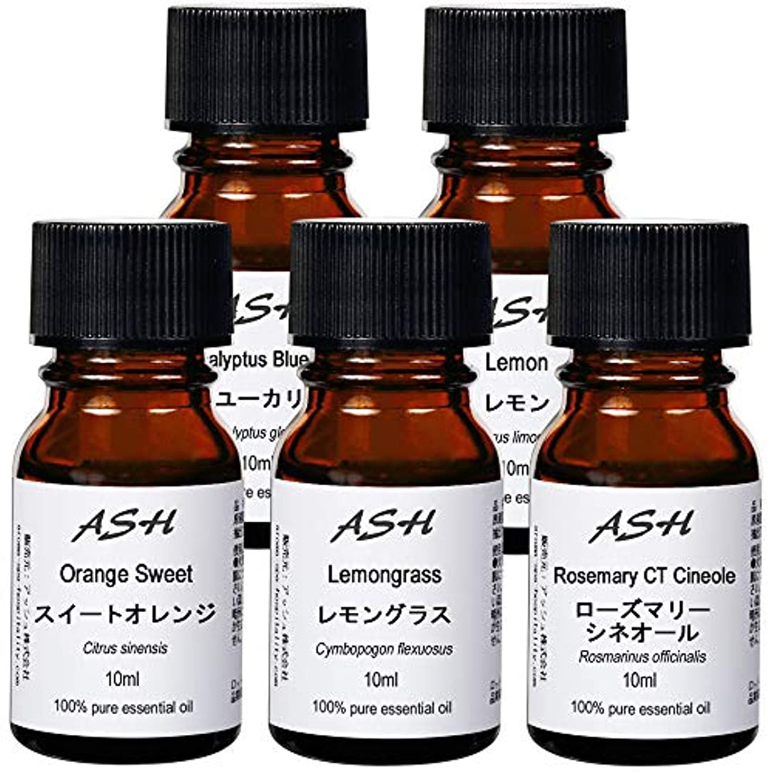一般的に緯度ホバートASH エッセンシャルオイル D.スターター 10mlx5本セット (スイートオレンジ/ユーカリ/レモン/レモングラス/ローズマリー) AEAJ認定精油