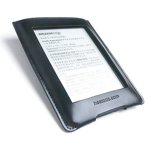 heessac.com Kindle paperwhite用 牛革エンベロープケース (ブラック(窓あり))