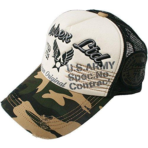 (アヴィレックス) AVIREX CAP 60 ロゴ&エンブレム刺繍メッシュキャップ帽子 0600 アビレックス 男女兼用 メンズ レディース (カモ)
