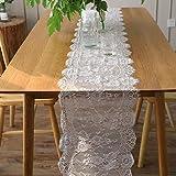35 * 300センチメートルヨーロッパの白い糸のまつげのレーステーブルのフラグ結婚式の結婚式の装飾クリスマスの日のパーティーの装飾
