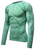 HONENNA 長袖 加圧インナー スポーツシャツ サッカー 男性用機能性肌着 姿勢矯正 吸汗速乾 コンプレッションウェア アンダーウェア メンズ 3カラー (M, グリーン)
