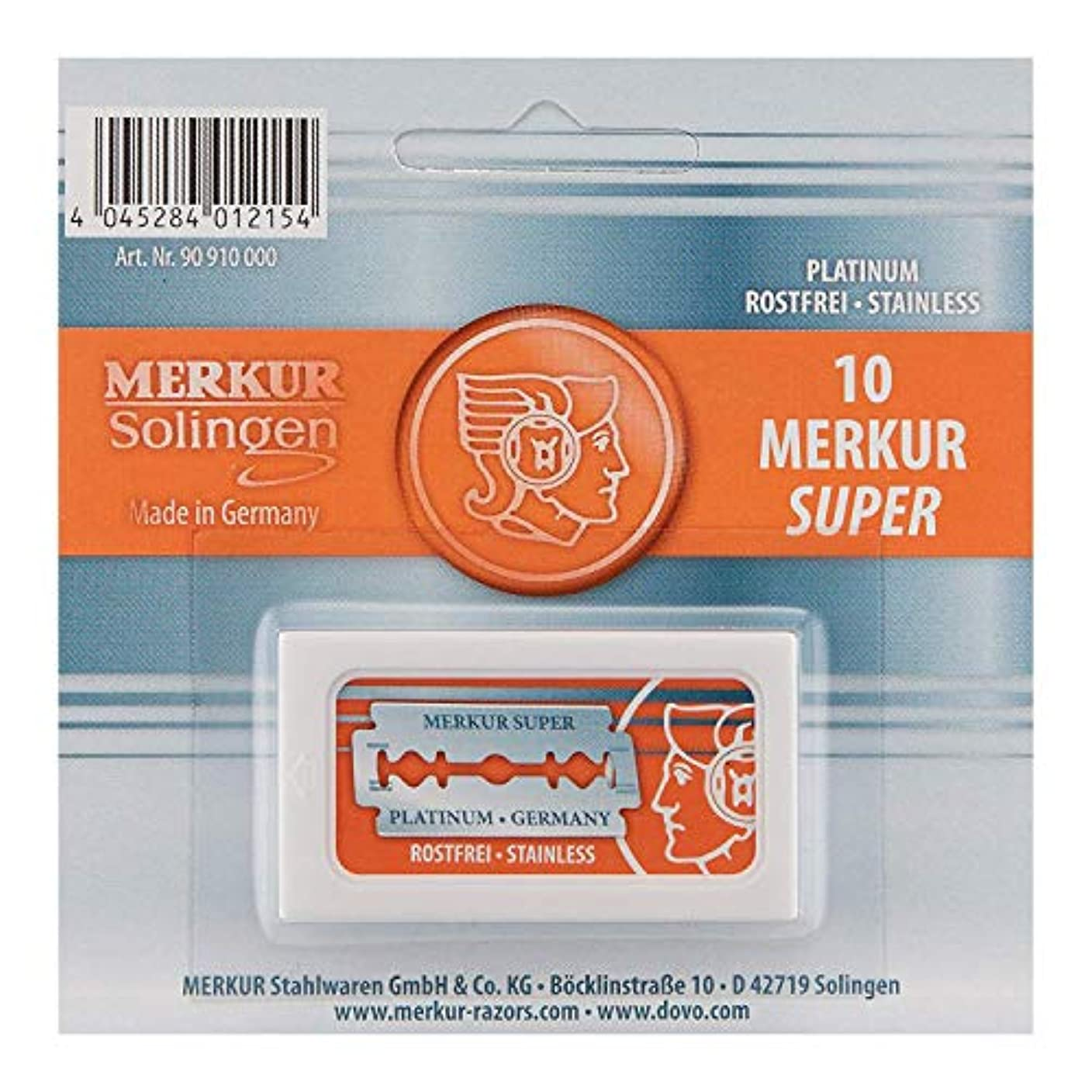 シルク宇宙飛行士薄暗いMerkur Stainless Platinum Safety Razor Blades 10 Pack