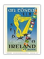 アイルランド - トスタル祭り - KLM ロイヤルオランダ航空 - ビンテージな航空会社のポスター によって作成された オーギュスト・メライ c.1953 - アートポスター - 23cm x 31cm