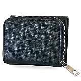 三つ折り財布 ミニ財布 小さい 財布 レディース /ファスナー開閉で 使いやすい/ 全5色 / 汚れ汗に強い/ ターニング (ブラック(ファスナーシルバー))