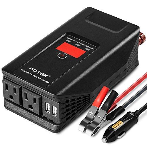 POTEK カーインバーター 500W DC12V/AC100V インバーター ACコンセント シガーソケット充電器 2AUSBポート LEDディスプレー搭載