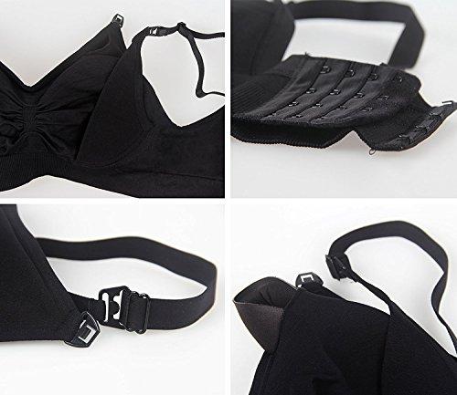 授乳ブラジャー マタニティブラジャー 妊婦 産後 矯正下着 ープン ノンワイヤー ブラジャー 3枚セット (XL, ピンク+ベージュ+ブラック)