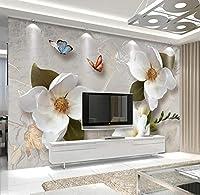 Ywwz&N 壁カスタム壁紙3D現代ヨーロッパスタイルアート壁画ヴィンテージビッグフラワーリビングルームテレビ背景写真壁紙フレスコ画-150X120Cm