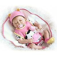 フルボディシリコン少女Reborn新生児赤ちゃん目閉じたビニール人形22インチLifelikeおもちゃwith磁気口