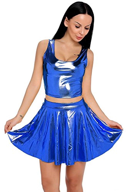 マウスピースとげもちろんNihoe Women's Sexy Crop Tank Top Pleated Skirts Sets (OneSize Y3079 Dark Blue)ハロウィン [並行輸入品]