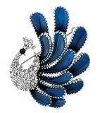【アールフルール】RFleur キラキラ ライン ストーン かわいい 孔雀 クジャク ブローチ 動物 アニマル ゴージャス シルバー アクセサリー メンズ レディース ジュエリー