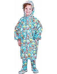 キッズ レインコート バイザー付バイザー付 カッパ リュック 対応 収納ポーチ付 カッパ 可愛いカートゥーン図案で子供にカラフルな雨具 子どもレインコート Zhwang