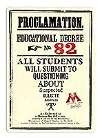 Proclamation Educational Decree 金属スズヴィンテージ安全標識警告サインディスプレイボードスズサインポスター看板建設現場通りの学校のバーに適した