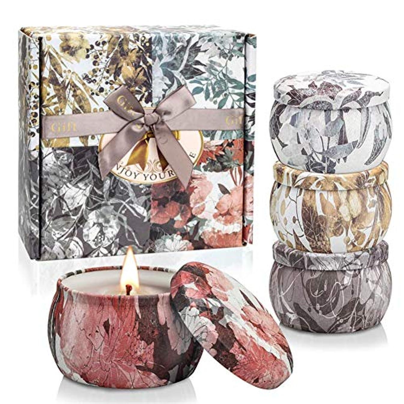 間接的時計宮殿Ankishiアロマセラピーキャンドルギフトセット100%天然大豆ワックス4.4オンスポータブル旅行錫キャンドル燃焼時間25-30時間完璧な女性の母の日クリスマスギフト