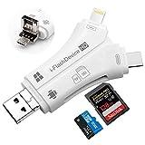 HUASUN SD カードリーダー Lightning & iPhone/USB TYPE-C/USB-A & USB 3.0/Micro-USB & OTG 4in1 10Gbps 高速転送 USB TYPE-C カードリーダー SD/SDHC/SDXC/micro SD/micro SDXC 対応 Android/Windows/Linux /IOS/Mac用(ホワイト)