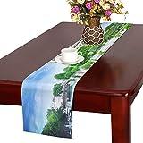 LKCDNG テーブルランナー すてきな ノートルダム大聖堂 クロス 食卓カバー 麻綿製 欧米 おしゃれ 16 Inch X 72 Inch (40cm X 182cm) キッチン ダイニング ホーム デコレーション モダン リビング 洗える