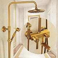 LJ アンティークシャワーセットフル銅の蛇口加圧スプレーガンラウンドビッグトップスプレー ( 色 : ブラス ぶらす )