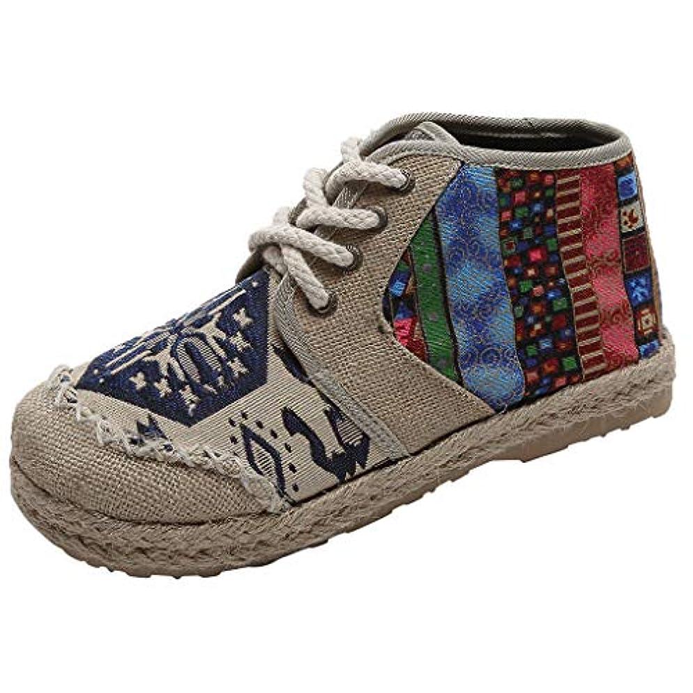 ラベンダー風味首[Sucute] 国立風の婦人靴 リネンレトロ 学生 カジュアル 大型 シングルシューズ 高い助け ファッショントレンド 海沿いの旅行に適しています (35-43)