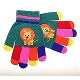 キッズ・ジュニア・子供用 どうぶつのデザイン カラフル アニマルデザイン ウインターマジックグローブ 冬用手袋 (ワンサイズ) (グリーン(ライオン))