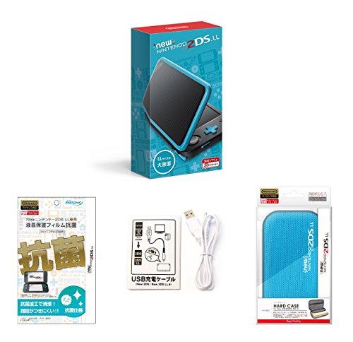 【Amazon.co.jp限定】【液晶保護フィルム付き (抗菌タイプ) 】Newニンテンドー2DS LL ブラック×ターコイズ+ハードケース for Newニンテンドー2DS LL ターコイズブルー+USB充電ケーブル