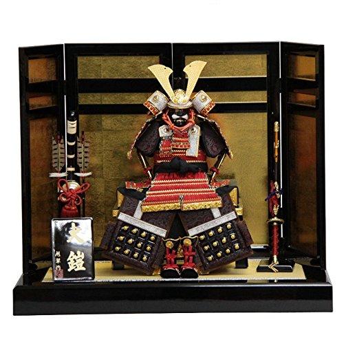 五月人形【特価品】 平飾り鎧飾り 6号 幅75cm mf-60 旭翠作 正絹赤糸縅 二引き屏風 端午の節句