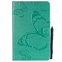 YHUISEN サムスンギャラクシータブE 9.6 SM-T560 / T561 / T565のための蝶の花の花柄のPUレザーウォレットスタンドタブレットケース (色 : 緑)