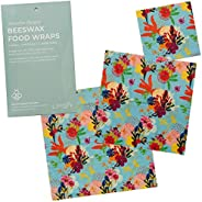Zenify Earth Beeswax Food Wraps - Set of 3 - Eco Friendly Reusable Food Storage Covers - Australian Owned