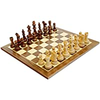 WE Games Traditional Staunton Wood Chess Set with Distressed Wooden Board - 14.75 inch Board with 3.75 inch King [並行輸入品]