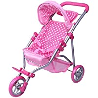 Precious Toys Pink & White Polka Dots Foldable Doll Stroller Jogger Foam Handles and Hot Pink Frame [並行輸入品]
