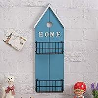 ウォールシェルフ アメリカのカントリーバーの壁の壁の装飾クリエイティブの家の壁の装飾フレーム、ディスプレイスタンド(60 * 21 * 9.5センチメートル)。 (色 : 青)