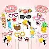 Fanghui 21ピース ハワイビーチ Let's Flamingo 写真ブース小道具 フィエスタ アロハ ルアウ パーティー用品 誕生日 独身お別れサマービーチ テーマ パーティーファクター サプライ デコレーション (21個)